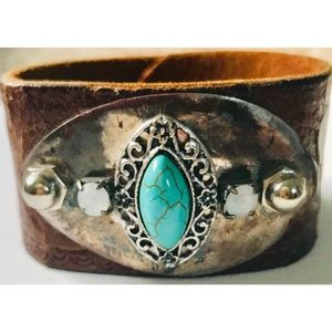 Silver & Turquoise Buckle Cuff Bracelet